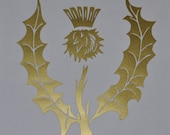 Scottish thistle gold vinyl decal