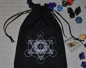 Metatron's cube sacred geometry tarot dice bag