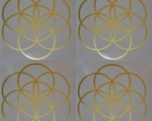 Seed of life SET of 4 sacred geometry gold  vinyl decals
