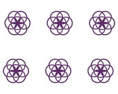 Seed of life SET of 6 violet vinyl decal