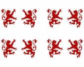 Scottish heraldic lion SET of 8 red vinyl decals