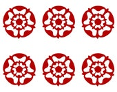 Medievel tudor rose SET of 6 red vinyl decals