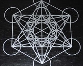 Metatron's cube sacred geometry silver vinyl decal