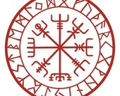 Viking protection runes vegvisir compass talisman red vinyl decal