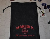 WARLOCK Dungeons and Dragons game dice bag