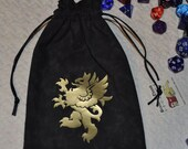Medieval rampant griffin dice bag