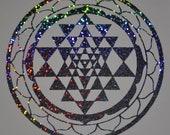 Sri Yantra sacred geometry confetti vinyl decal