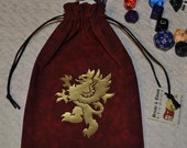 Medieval rampant griffin dice bag