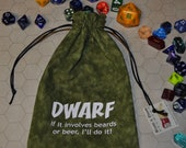 DWARF Dungeons and Dragons dice bag