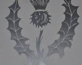 Scottish thistle silver vinyl decal