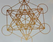 Metatron's cube sacred geometry copper vinyl decal