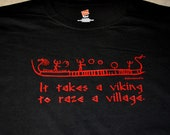 XXXL Viking to raze a village longboat rune t-shirt