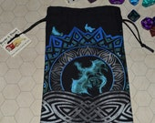 Blue dragons celtic knot tarot rune dice bag