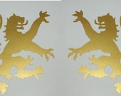 Scottish heraldic lion gold vinyl decals
