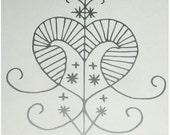 Erzulie voodoo veve silver vinyl decal