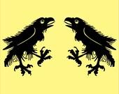 Passant raven black medieval heraldic vinyl decals