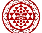 Sri Yantra sacred geometry red vinyl decal