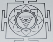 Kali Yantra mandala silver vinyl decal