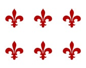 Medievel fleur de lys SET of 6 red vinyl decals