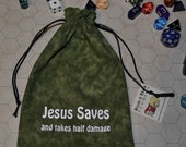 JESUS SAVES Dungeons and Dragons game dice bag