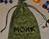 MONK Dungeons and Dragons game dice bag