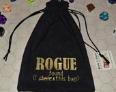 ROGUE Dungeons and Dragons game dice bag