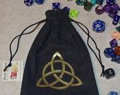 Celtic triquetra trinity knot dice bag