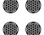 Flower of life SET of 4 black vinyl decal