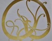 Viking Midgard serpent gold vinyl decal