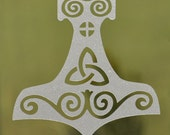 Etched glass Viking mjolnir Thor's hammer vinyl decal