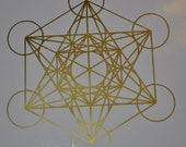 Metatron's cube sacred geometry gold vinyl decal