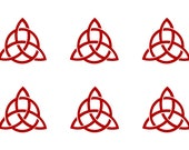 Celtic trinity knot SET of 6 red vinyl decal