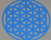 Flower of life reflective blue vinyl decal