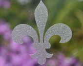fleur de lys SET of 6 etched glass vinyl decals