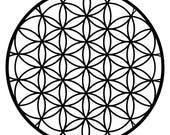 Flower of life sacred geometry black vinyl decal
