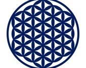 Flower of life sacred geometry blue vinyl decal
