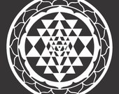 Sri Yantra sacred geometry white vinyl decal