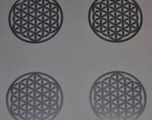 Flower of life SET of 4 silver vinyl decal