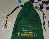FIREBALL spiders DnD game dice bag