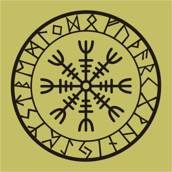 Viking Protection Runes Helm Of Awe Talisman Black Vinyl Decal Etsy
