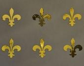 fleur de lys SET of 6 Medievel gold mirror vinyl decals