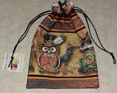 Steampunk cat owl raven tarot rune dice bag