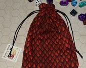 Red dragon scale tarot rune dice bag