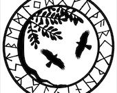 Viking yggdrasil ravens black vinyl decal