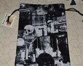 Black cats in haunted houses tarot rune dice bag