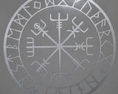 vegvisir Viking compass protection runes talisman silver vinyl decal