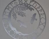 Viking yggdrasil ravens silver vinyl decal