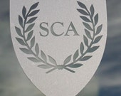 SCA heraldic shield etched glass vinyl decal