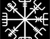 Icelandic Viking vegvisir rune white vinyl decal
