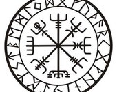 Viking protection runes vegvisir compass talisman black vinyl decal